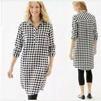 J. Jill Black and White Buffalo Plaid Long Sleeve Shirt Dress Women's, XS, EUC