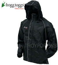 1-FROGG TOGGS RAIN GEAR-TT6039 TEKK TOAD BLACK JACKET REFLECTIVE WET RIDING WEAR