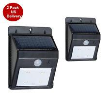 2X 4LED Outdoor Solar Power PIR Motion Sensor Wall Light Waterproof Garden Lamp