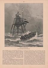 Maplinsand Maplin Sands Leuchtturm Themse HOLZSTICH von 1901 Alexander Mitchell