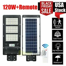 120W LED Solar Street Light Commercial IP67 Dusk to Dawn Road Lamp Outdoor USA
