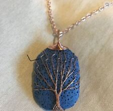 lava rock tree of life pendant jewelry  diffusing necklace brass chain