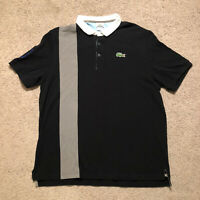 Lacoste Men's Polo Black Size 8 US 3XL Big Embroidered Alligator 27 On Sleeve