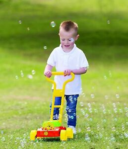 KIDS AUTO SPILLPROOF BUBBLE BLOWING LAWN MOWER OUTDOOR TOY GARDEN BEACH