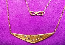 Stunning Polly Wales Swallows Dive 18kt Gold Necklace with white sapphires BNIB