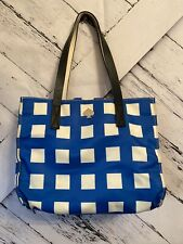 Kate Spade New York Berry Street Elise tote blue and white checked