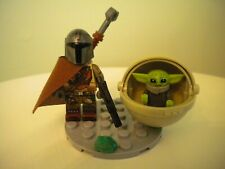 STAR WARS The Mandalorian cape weapons & The Child BABY YODA crib pod, Lego Frog