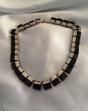 Early Modernist Mexican Sterling Silver & Onyx Necklace. Signed TP-33 .
