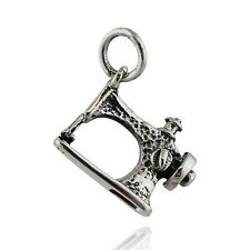Sewing Machine Charm - 925 Sterling Silver Sew Thread Clothing Crafts Stitch NEW