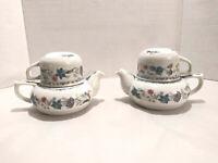 """2 -  Vintage Andrea by Sadek """"Garden of India"""" Floral Porcelain Tea for One Set"""