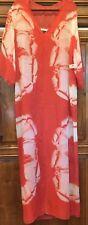 $595 Halston Heritage Coral Feather-print Silk Caftan Gown Sz M