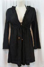 J. Valdi Cover Up Sz S Black Hooded Long Sleeve Dress Swimcover 25614