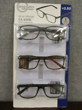 Design Optics By Foster Grant Full Frame Classic Reading Glasses- 3 PACK  +2.50