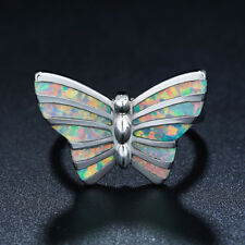 Fashion Silver butterfly White Fire Opal Jewelry Valentine's Day Ring Size 8