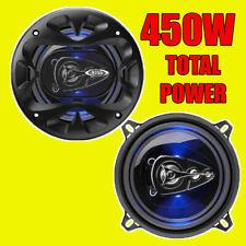 Jefe 450W 4WAY total 5.25 pulgadas 13cm Puerta Del Coche/Altavoces Coaxiales De Estante Par Azul