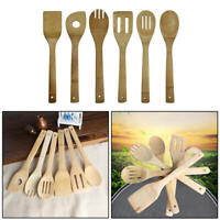 6pcs Bamboo Kitchen Tools Spoons Spatula Wooden Cooking Mixing Utensils Tool hdg