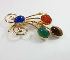 Scarab Brooch Pin Signed Gold Tone Leaf Floral Carnelian Tigers Eye Signed 9115