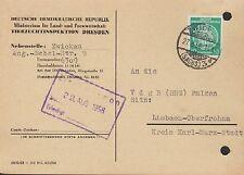 DRESDEN, Postkarte 1958, Tierzuchtinspektion