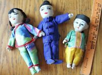 3 Asian Style dolls two cloth Hong Kong Lutheran Handicrafts & 1 porcelain face