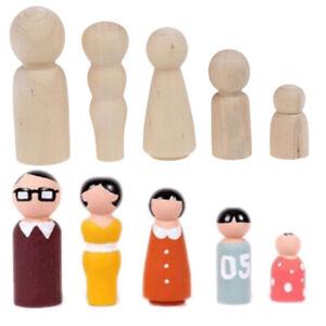 5Pcs Natural Wooden Peg Dolls Family DIY Handmade Souvenir Crafts Cake Decor `hw