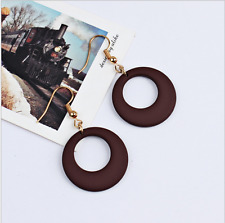 3 Pairs Simple Fashion Sliver Hollow Round Brown Earrings Hook Party Ladies Gift