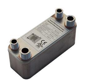 Plattenwärmetauscher B3-12-30 mit 2x1/2 & 2x3/4 Zoll Anschl. 65kW Heizung Solar