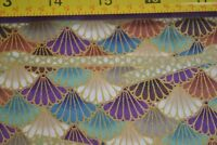 By 1/2 Yd, Gold Metallic on Oriental Fans Quilting, Quilt Gate/79-1, B932