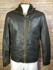 American Rag cie Brown Heavy Faux Leather Fuzzy Men's Coat Bomber Jacket sz M