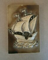 Vintage Tile Sailboat 3 D Decorative Brown Ceramic Hand Made Slovenia