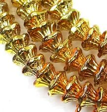 25 Czech Glass Flower Cup Beads 7 x 5 mm -  California Gold Rush