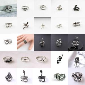 Men Women Stainless Steel Animal Silver Cobra Snake Open Adjustable Finger Ring