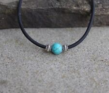 Men's Surfer Turquoise and Silver Bead Necklace Choker, Black Rubber Choker
