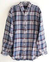 Polo Ralph Lauren Big & Tall Mens LT Red Blue Plaid 100% Linen Shirt NWT Size LT