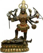 "Large KALI Maa Warrior Jai God Statue 33""Black Green Brass Figure Hindu Art 38KG"