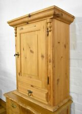 Antique rustic wall mounted pine cupboard / cabinet