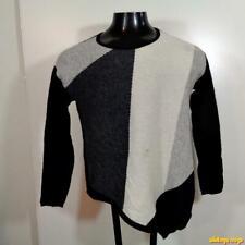 CHARTER CLUB Cashmere Crewneck Sweater Womens Size S Black/gray/white
