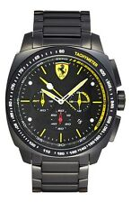 New Men's Scuderia Ferrari Watch 830162 Black Aero Evo SS Bracelet Chronograph