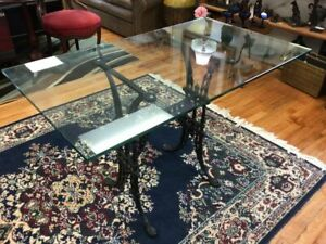 Black Wrought Iron Base Glass Top Dining Library Table Desk
