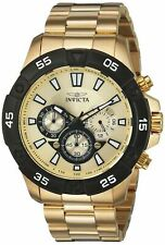 Invicta Mens Pro Diver Quartz Watch W/ Stainless-Steel Strap, Gold, 10 (Model: )