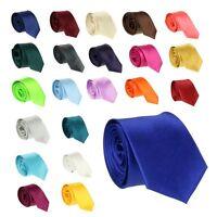 New Mens Silk Satin Simple Slim Tie Multi Colours Wedding Necktie