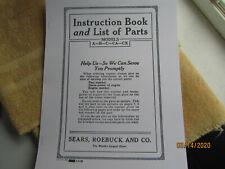 Sparta Economy Sears Models A B C Ca Cx 1935 Engine Instruction/Parts Manual
