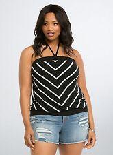 NWT Torrid Plus Size 3X Black White Striped Sleeveless Tube Top Halter (MMM16)
