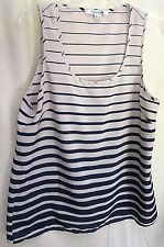 FOREVER 21 Navy &  Beige Stripes LAYERED Shimmery Slinky TANK TOP SIZE LARGE