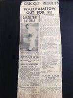 m1-5 ephemera 1949 Article Walthamstow C C Cricket V Buckhurst Hill Brotherston
