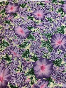 """1/2 Yd """"Blooms"""" Purple Flowers cotton Fabric by Hoffman"""