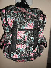 NEW CANDIES Pink & Black Canvas Floral Backpack Book Bag  SUPER CUTE! RETAIL $60