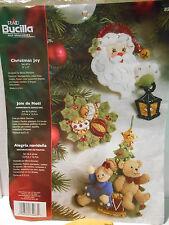 Bucilla CHRISTMAS JOY Felt Applique Ornament Kit #85463 Santa Tree ~ COMPLETE