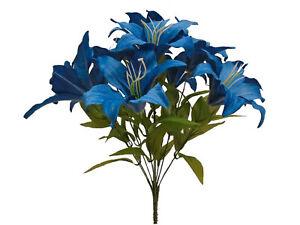 "Dark BLUE Tiger Lily Bush Satin Artificial Flowers 19"" Bouquet 11-8225RBL"