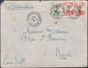 INDO-CHINA, 1911. Cover 44, 45 (2), Tuyen Quang -  Nantes