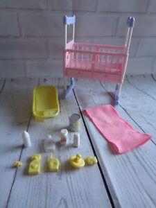 Barbie Midge  Nursery Baby cot bath  Bundle and  ( accessories )